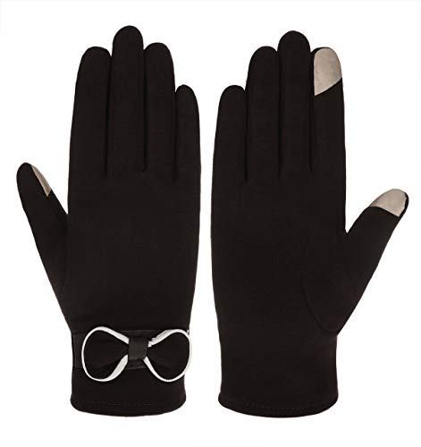 IL Caldo Womens New Winter Bow Warm Thick Knit Touchscreen Gloves,Black