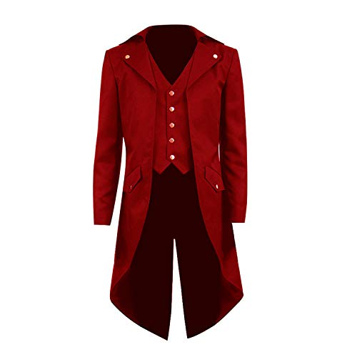 COSSKY Boys Gothic Tailcoat Jacket Steampunk Long Coat Halloween Costume (Red(B), 10)