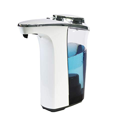 JD New Concept Technology Automatic Soap Dispenser Compact Sensor Pump Adjustable Soap Dispensing Volume Control Battery Operated 17oz/500ml for Kitchen, Bathroom (Silver) ()