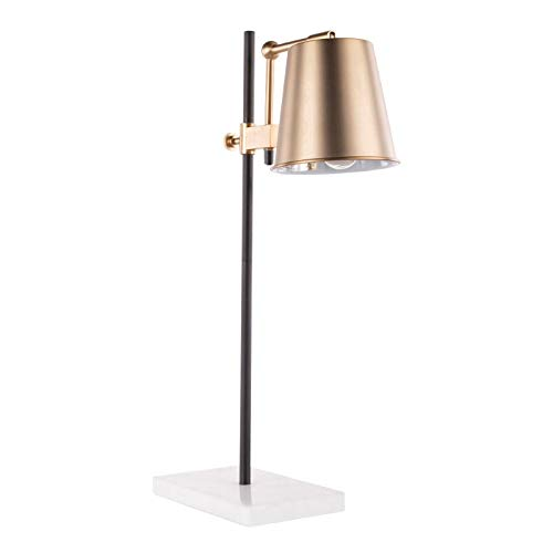Lumisource Metric Industrial Table Lamp, White/Black/Antique Brass