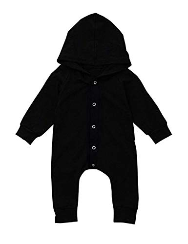 Walsoner Newborn Baby Boys 3 6 9 12 Months Clothes Infant Long Sleeve Hoodie Romper Black Bodysuit One-Piece Jumpsuit Outfit 6-9 Months ()