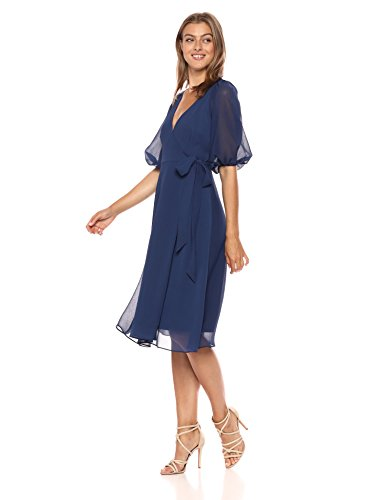 Adrianna Papell Women's Fit Flare Textured Chiffon Wrap Dress
