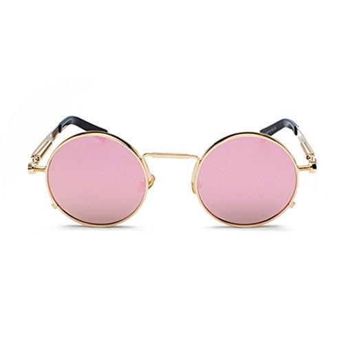 Inlefen redondas gafas Gafas de de las metal primavera señoras Rosado vintage de gafas ovales wZw5qfrn