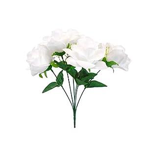 2 Bushes Open Rose Artificial Silk Flowers Bouquet 6-7203 White 56