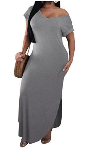 Neck Short Rise Sleeve Solid Cozy Gray Coolred Baggy Dresses Summer V Mid Women qXxTgwxA
