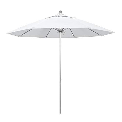 California Umbrella 9' Round Aluminum/Fiberglass Umbrella, Push Open, Silver Pole, Olefin White - Steel Pole White