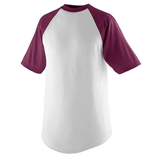 Augusta Sportswear Men's Short Sleeve Baseball Jersey, White/Maroon, Large