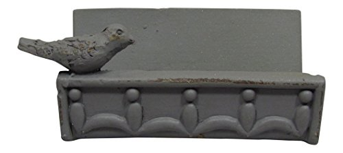 Desk Business Card Holder Stand Bird Design (Grey)