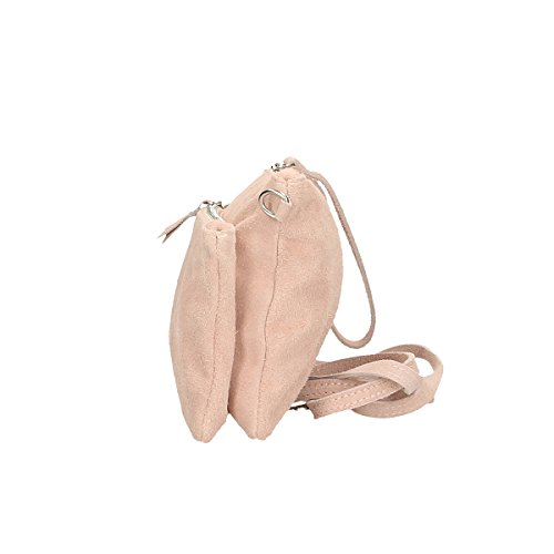 Chicca 24 x 4 genuina Bolso de de Cm x hombro Piel 17 Borse rosado rHwTqr