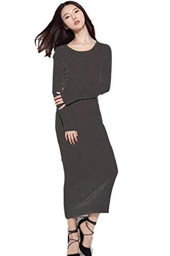 winter dresses Women's Midi Dress round neck Cashmere dress Long Sleeve Slim Fit Stretchable Elasticity (One Size, 1143 Dark Grey) ()