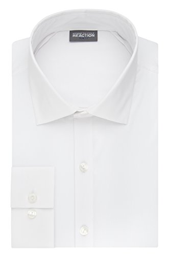 Kenneth Cole Reaction Men's Technicole Slim Fit Stretch Solid Spread Collar Dress Shirt , White, 15.5
