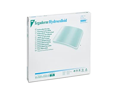 3M 90005 Tegaderm Hydrocolloid Dressing, 6in x 6in (15cm x 15cm), Square (Box of 3)