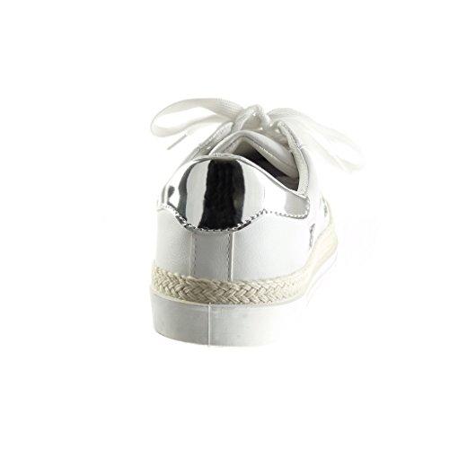 Angkorly - Chaussure Mode Baskets Tennis basse femme etoile pailettes brillant Talon plat 1.5 CM - Argent