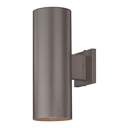 Up / Down Bronze Cylinder Outdoor Wall Light (Bronze Exterior Wall Light Fixture)