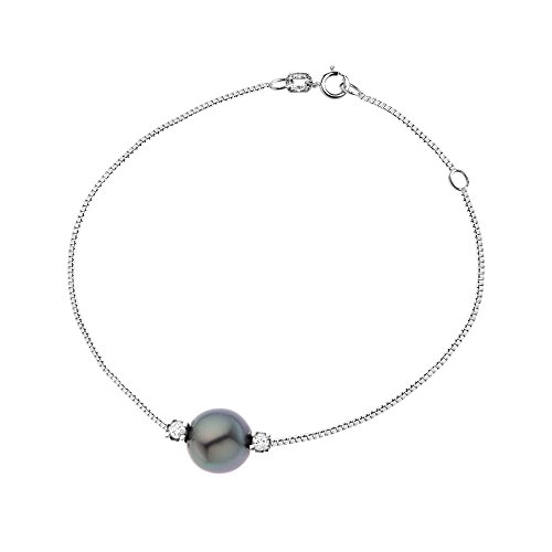 & You - Bracelet Chaîne - Argent 925 - Access - Diamant 0.1 cts - Perle de Culture de Tahiti - 18 cm - AM-SBR 62 010 R8-18