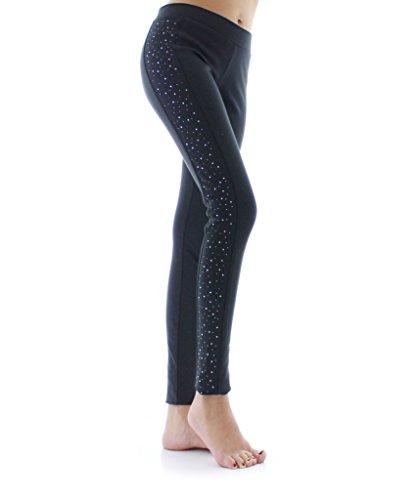 (MeMoi Sallumina Studded Legging - Comfy Glamorous Fashion Leggings Black MF5 093)