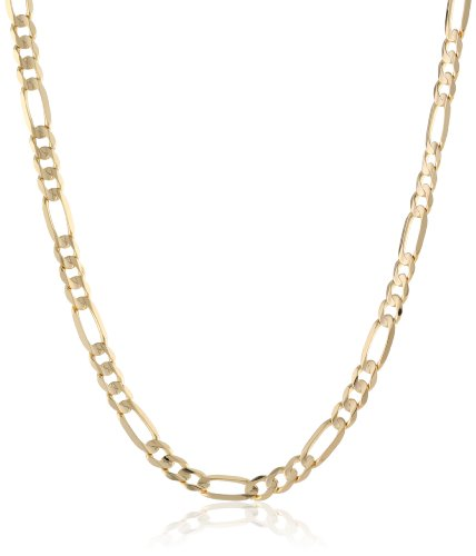 Men's 10k Yellow Gold 4.65mm Italian Figaro Chain Necklace, 20'' by Amazon Collection