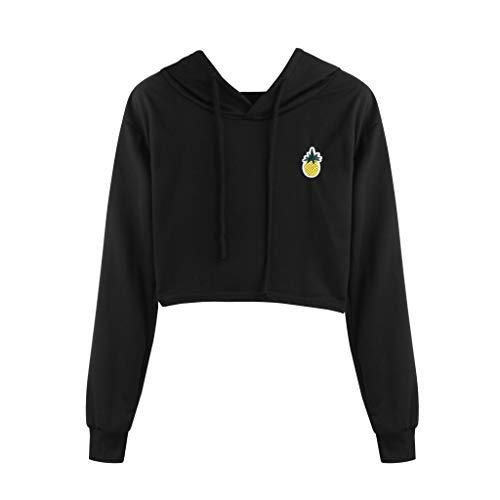 Womens Pineapple Printed Hoodie Plaid Crop Top Pullover Sweatshirt Shirt Blouse