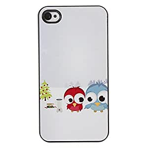 SJT Two Cute Owls Babies in the Snow Pattern PC Hard Case with 3 Packed HD Screen Protectors for iPhone 4/4S