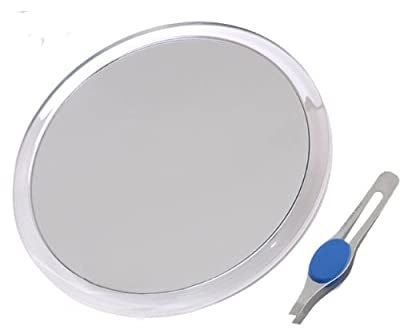 """JUMBL Large 10"""" Suction Cup 8X Magnifying Mirror with Precision Tweezers"""