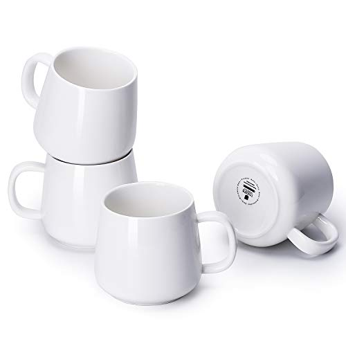 Teocera Porcelain Coffee Mugs, Coffee Cup Set - 12 Ounce for Tea, Cocoa and Mulled Drinks - Set of 4, White ()