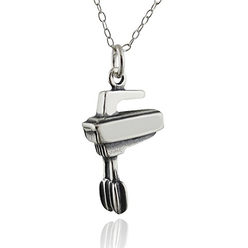 Sterling Silver 3D Kitchen Hand Mixer Charm Necklace, 18""
