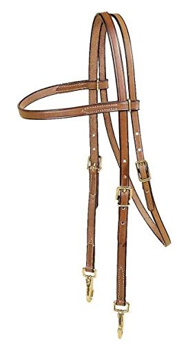 - TORY LEATHER Browband Training Headstall - Brass Snap Bit Ends