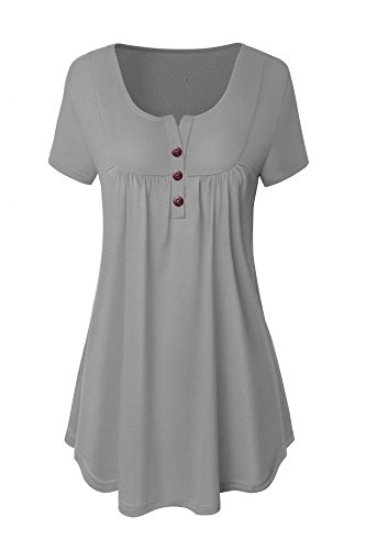 Neitade Women Shirts and Blouses Short Sleeve Tunic Tops For Leggings Plus Size Grey XL