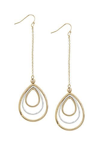 KARMAS CANVAS LAYERED TEARDROP CHAIN EARRINGS (Necklace Trifari Chain)