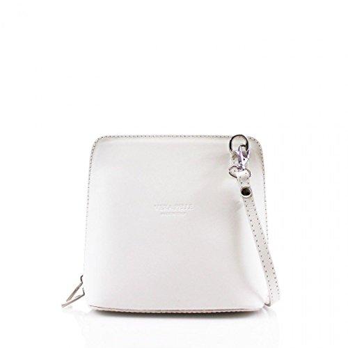 Ladies Fashion Small Square Vera Pelle Italian Leather Cross Body Shoulder Bags (White)