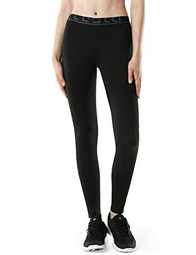 TSLA Women's Thermal Wintergear Compression Baselayer Pants Leggings Tights, Thermal Fleece(xup22) - Black, Medium