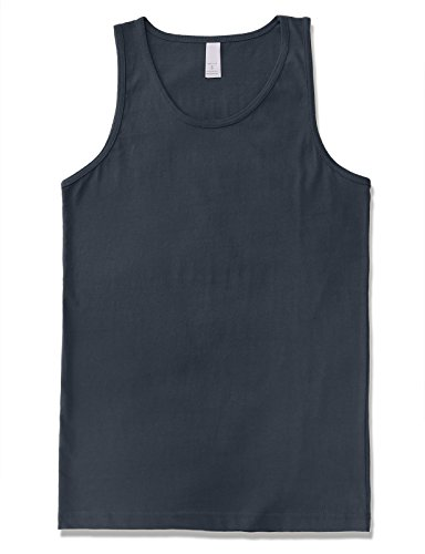 JD Apparel Men's Premium Basic Solid Tank Top Jersey Casual Shirts 3XL Harbor Blue by JD Apparel