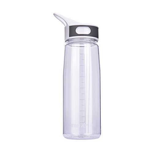 BOTTLED JOY Best Reusable Clear Water Bottle, Big Sports Water Bottles With Straw, BPA FREE Water Bottles 800ml 27oz