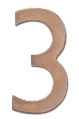 Architectural Mailboxes 3582AC-3 Brass 4-Inch Floating House Number, Antique Copper 3 Size: 3, Model: - Architectural Peninsula Wall Mailboxes