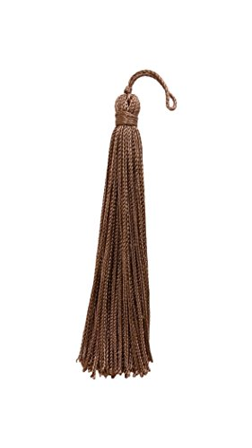 DÉCOPRO Set of 10 Taupe/Dark Beige Chainette Tassel, 4 Inch Long with 1 Inch Loop, Basic Trim Collection Style# RT04 Color: B6