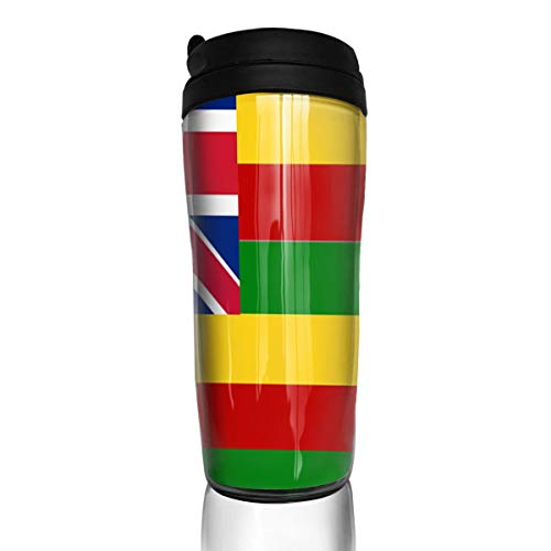 Bei Tang Coffee Cup Hawaiian Flag Travel Tumbler Insulated Leak Proof Drink Containers Holder Trendy 12 Ounces