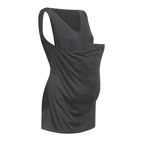 TTINAF Women Maternity Kangaroo Care Tops, Sleeveless V-Neck Breastfeeding Front Pocket Tank Baby Carrier Wrap Vest Shirt (L, Gray)