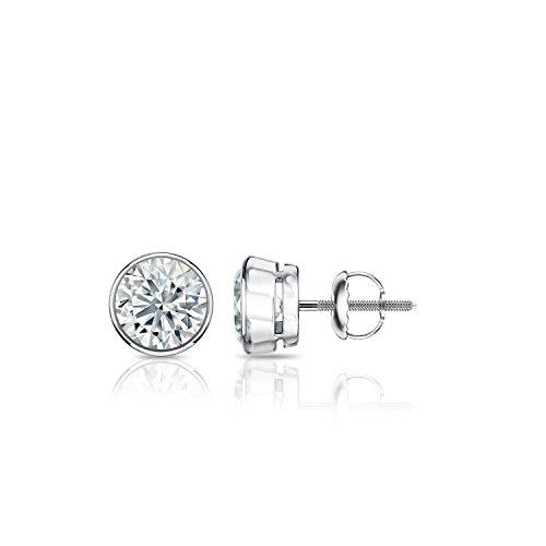Diamond Wish 14k White Gold Round Diamond Stud Earrings (1/2 cttw, G-H, SI2-I1) Bezel-set with Screw-Back