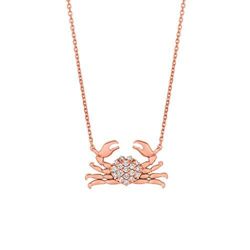 14k Rose Gold 0.18ctw. Diamond Crab 16
