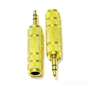 JMT Micrófono de oro 6,5 mm hembra a macho de 3,5 mm estéreo Jack Audio adaptador convertidor conector