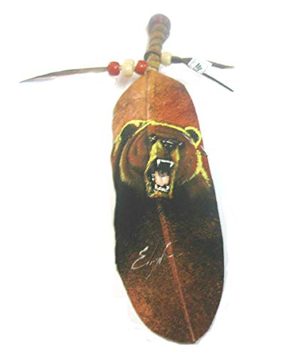 Roger Enterprises Black Bear Painting on Large Feather Cabochon Beads Leathers by Jose Carmelo Canales ()