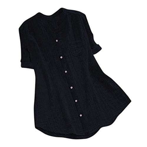 iPOGP Women Blouse Stand Collar Button Solid Short Sleeve Cotton and Linen Casual Loose Summer Tunic Tops T Shirt (Black,M)