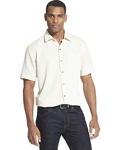 Van Heusen Men's Air Short Sleeve Button Down Poly Rayon Grid Shirt, Yellow Vanilla Custard, - Mens Shirt Casual Grid