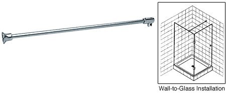 """delicate C.R. LAURENCE SUP06PN CRL Polished Nickel Frameless Shower Door Fixed Panel Wall-To-Glass Support Bar for 1/4"""" to 5/16"""" Thick Glass"""