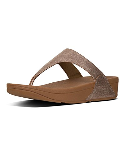 FITFLOP Shimmy Toe-Thong Sandals-Foil Print Suede, Sandalias con Plataforma Para Mujer Marrón (Tan Foil Suede)