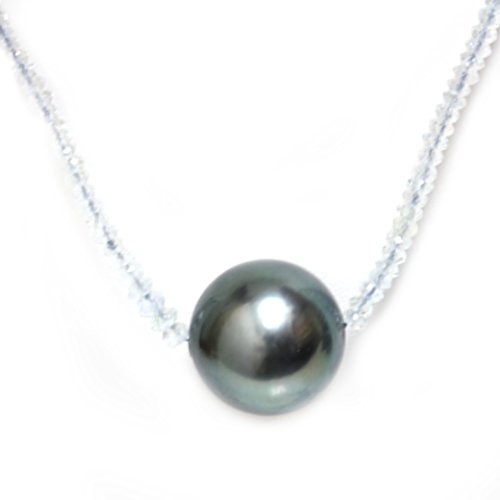 (Tahitian South Sea Pearl Aquamarine Solitaire Necklace 13.5 MM AAA 18k Solid White Gold)