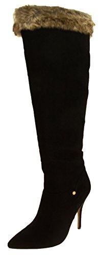 de Negro altos RAVEL del piel del del faux mujeres cargadores las La del faux de rodilla los negra ante la cubrió qRTzzZ