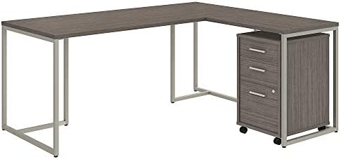 Bush Business Furniture Office by kathy ireland Method L Shaped Desk with 30W Return and Mobile File Cabinet, 72W, Cocoa