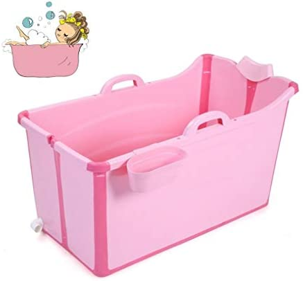 折りたたみバスタブ GYF 折りたたみ大人用浴槽 ポータブルプラスチック浴槽 座るカバー付き ホームアダルト 子供用入浴浴槽ベビースイミングビッグタブ 2色折りたたみ式大浴場 (Color : Pink)