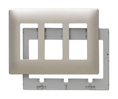 (Pass & Seymour SWP263NIBPCC5 3 Gang Screw Less Wall Plate, Plastic)